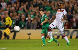 during the UEFA EURO 2016 Qualifier group D match between Republic of Ireland and Germany at the Aviva Stadium on October 8, 2015 in Dublin, Ireland.