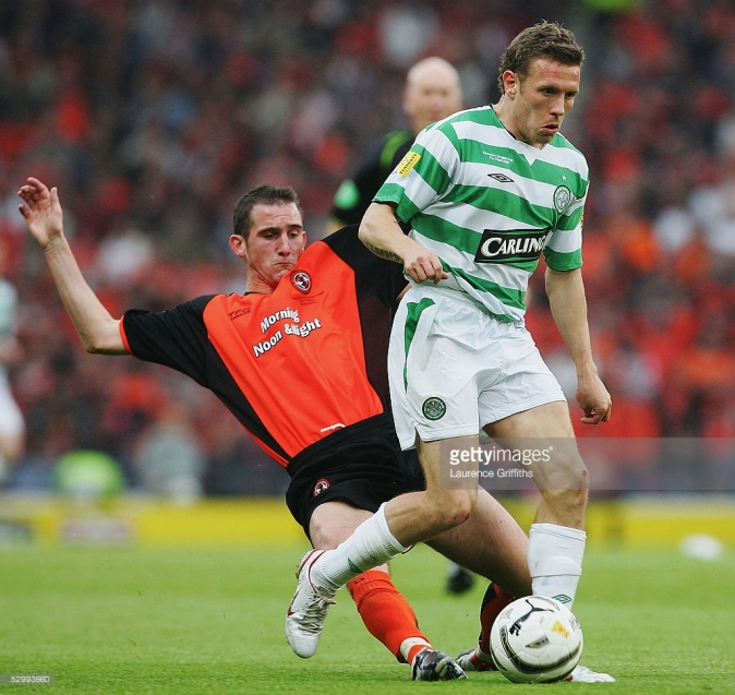 GLASGOW, SCOTLAND - MAY 28: Craig Bellamy of Celtic battles with Mark Kerr of Dundee Utd during The Tennents Scottish Cup Final between Celtic and Dundee United at Hampden Park on May 28, 2005 in Glasgow, Scotland. (Photo by Laurence Griffiths/Getty Images) *** Local Caption *** Craig Bellamy;Mark Kerr